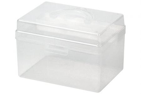 Portable Project Case with Inner Tray - 5.8 Liter Volume - Portable project case with inner tray (5.8L volume) in white.