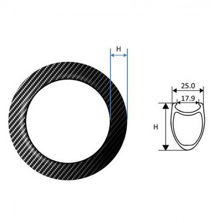 Carbon Fiber Rim, Road Clincher - Carbon Fiber Rim, Road Clincher 25 mm wide