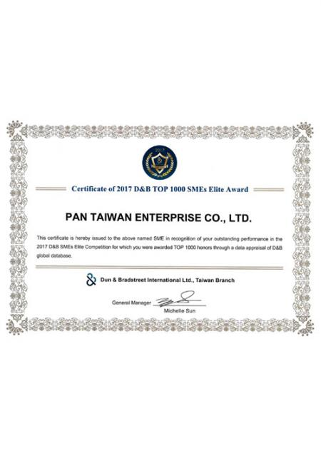 Certificate of 2017 D&B Top 1000 SMEs Elite Award.