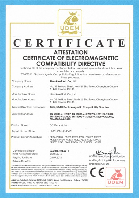 Hennkwell offers DC planetary gearmotor certificated with CE.