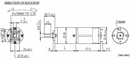 Dia. 38mm DC Motor With Planetary Gear Box