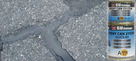 Low viscosity epoxy can system for filling cracks