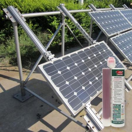 Chemical epoxy bonding adhesives for solar panel anchoring