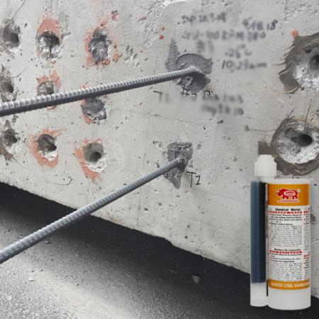 Chemical anchor injection for horizontal facade concrete