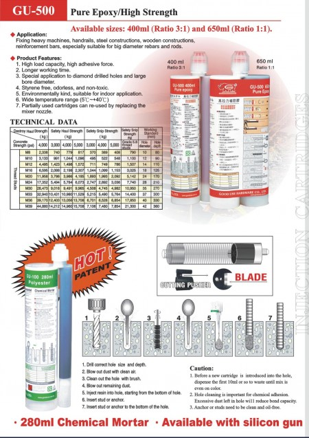 Hộp mực chất kết dính tiêm epoxy tinh khiết xây dựng chuyên nghiệp