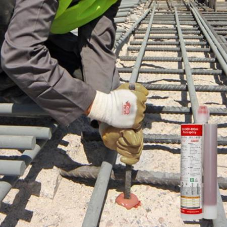 Epoxy resin structural concrete anchoring for steel