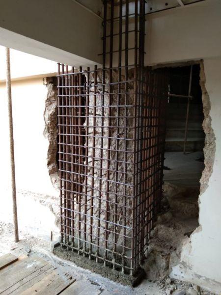 植筋膠搭配箍筋工法增加樑柱強度
