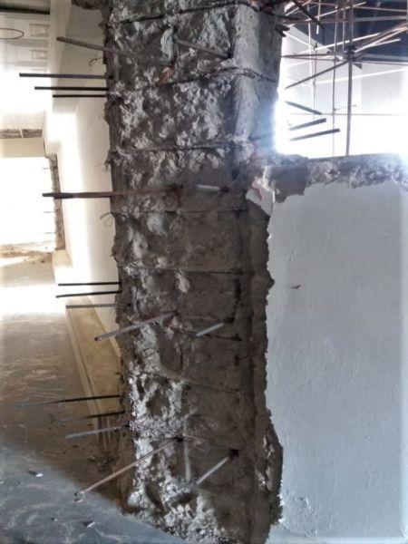 用植筋膠增加鋼筋承載力修補樑柱