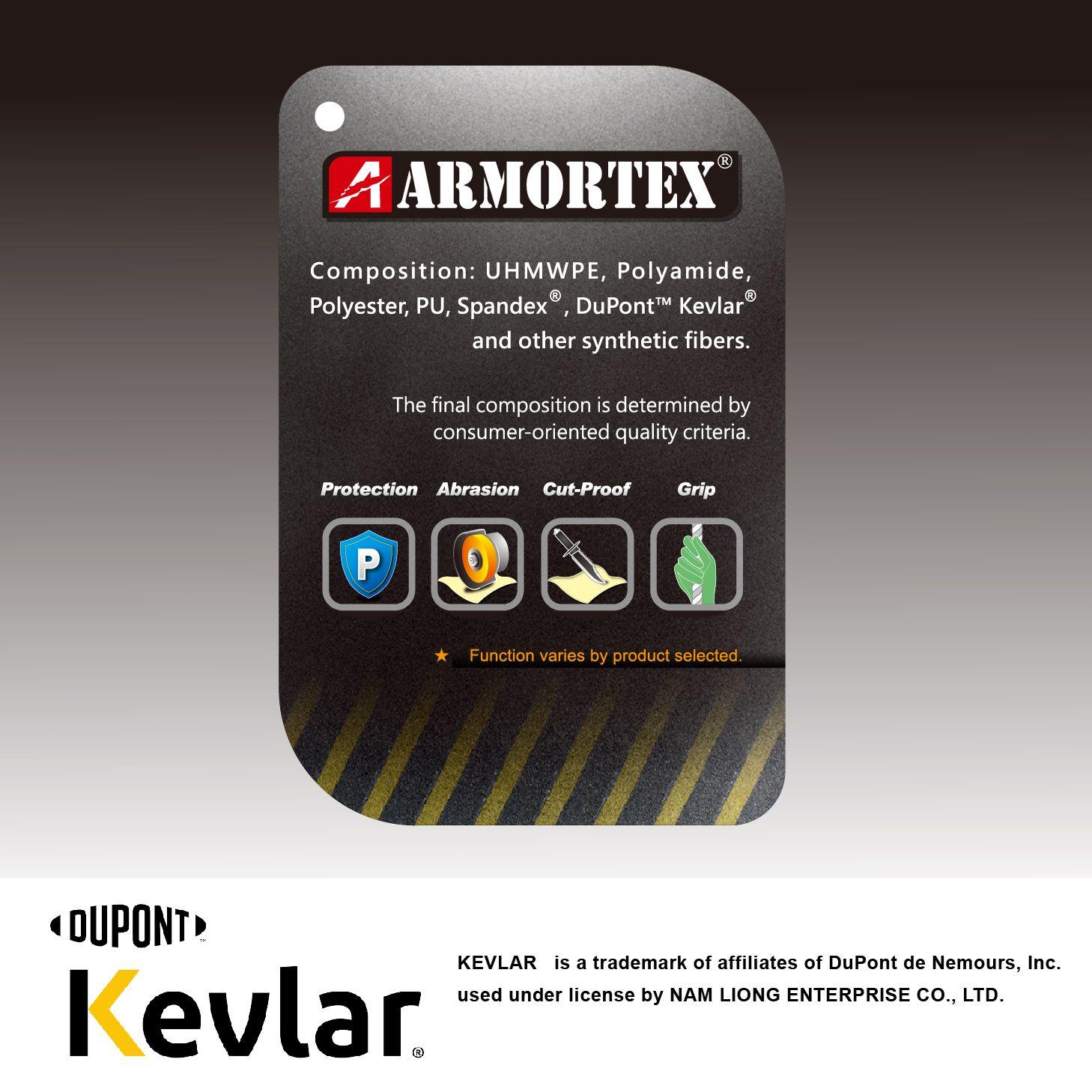 Kevlar® ist eine eingetragene Marke von EI du Pont de Nemours & Company (DuPont ™). ARMORTEX® ist eine eingetragene Marke vonNAM LIONG ENTERPRISE CO., LTD.