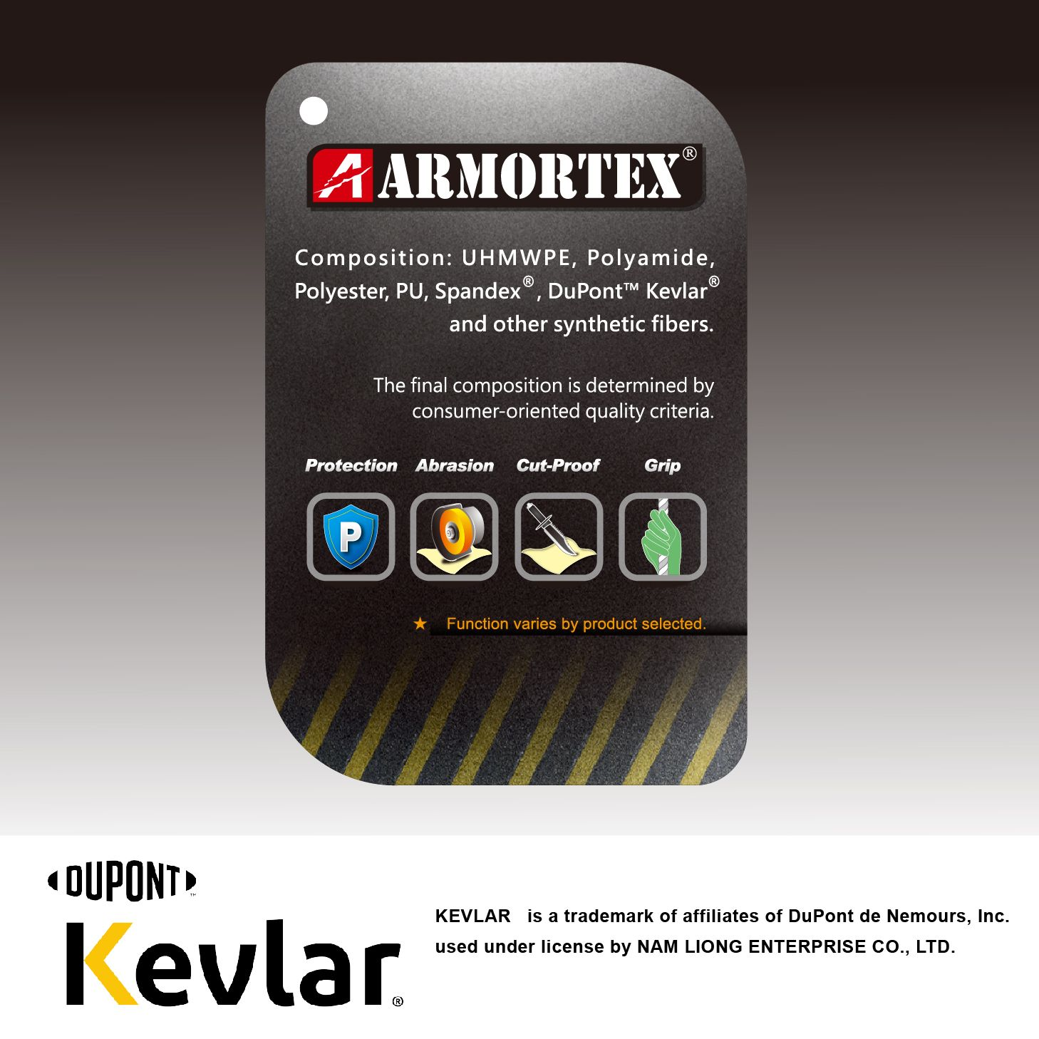 Kevlar® is a registered trademark of E.I. du Pont de Nemours & Company (DuPont™).    ARMORTEX® is a registered trademark of NAM LIONG ENTERPRISE CO., LTD.