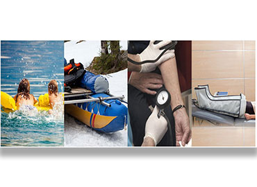 Application for compression therapy, flotation, dry bag, water bag, outdoor / medical mattress.