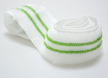 Soft and stretchable loop, can engage with hook fasteners.
