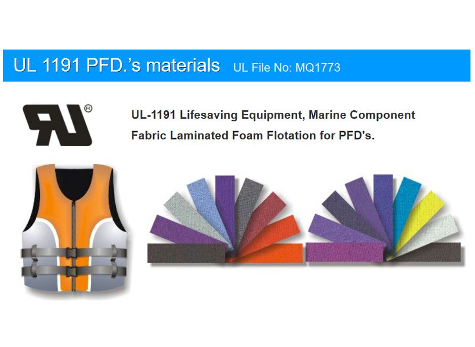 UL / ULC Approved Materials for Personal Flotation Device.