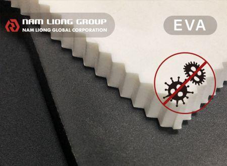 防霉抗菌EVA海綿 - 防霉抗菌EVA海綿發泡材料乃於EVA發泡材料中添加環保型安全抗菌劑,使其具有防霉抗菌之效果。
