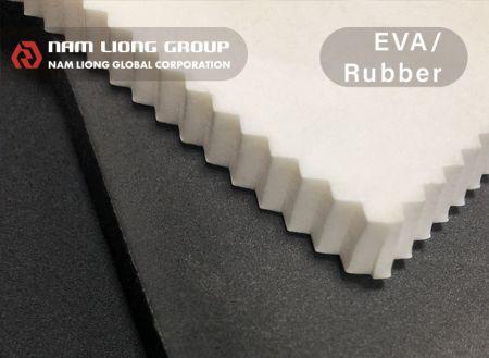 EVA / espuma de borracha - A espuma EVA / borracha tem características de leveza e fácil fabricação.