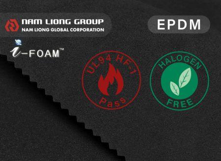 Espuma EPDM UL94 HBF retardante de chamas - A espuma EPDM está em conformidade com o padrão retardador de chamas UL94 HBF.