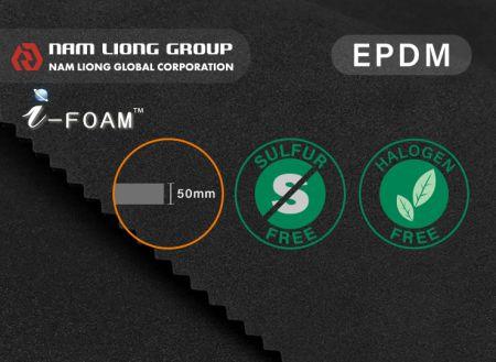 低硫厚款三元乙丙橡膠海綿 - 低硫厚款EPDM海綿以非硫磺架橋方式製成,可降低硫磺對金屬品所造成的傷害。