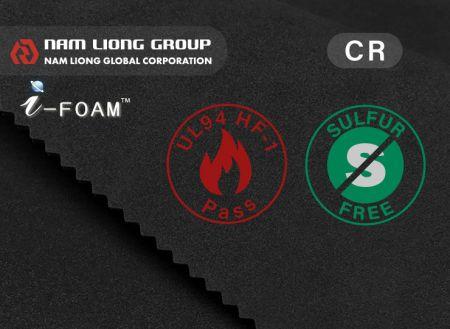 低硫氯丁橡膠海綿 - 低硫氯丁橡膠海綿可符合UL 94 HF-1阻燃等級要求。