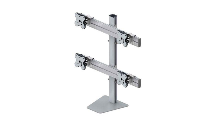 Cuatro brazos de monitor
