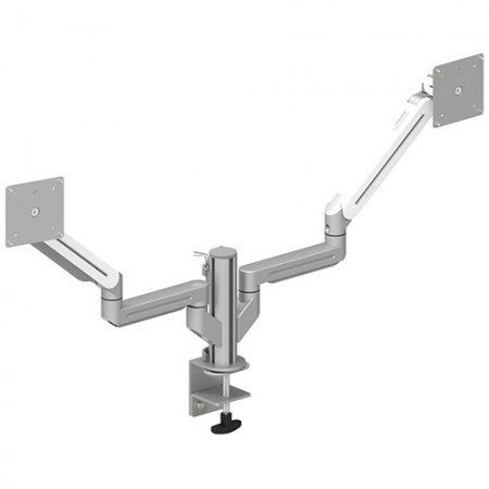 Dual Monitor Arm - Clamp or Grommet Mount for Light Duty