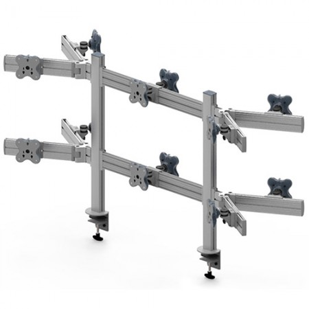 Twelve Monitor Arm - Clamp or Grommet Mount and Adjustable Asides - Twelve Monitor Arms EGTB-8026DW / 8026DWG