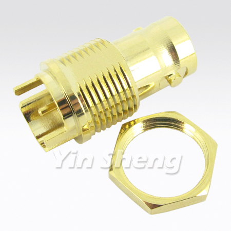 BNC Jack PCB Edge Mount Receptalce, Gold Plated, 75ohm, 4 Ghz - BNC Jack PCB Edge Mount Receptalce, Gold Plated, 75ohm, 4 Ghz