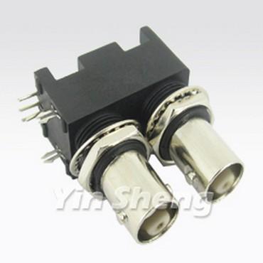 3G-SDI Dual BNC Jack Right Angle for PCB Mount(Black Housing)
