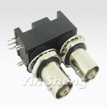 Dual BNC Jack Right Angle for PCB Mount(Black Housing)