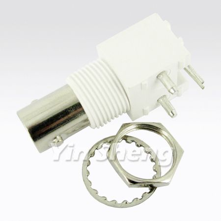 BNC Connector for CCTV & CATV - BNC Jack Right Angle Panel Mount(White Housing)