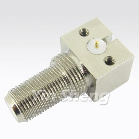 F Jack Right Angle Bulkhead Receptacle 75ohm - F Jack Right Angle Bulkhead Receptacle 75ohm