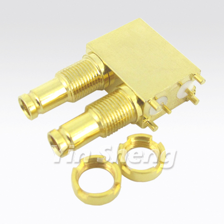 1.0/2.3 Dual port Right Angle PCB Mount Receptacle