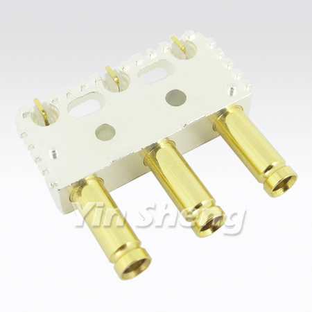 1.0/2.3 Three port Right Angle PCB Mount Receptacle - 1.0-2.3 Three port Right Angle PCB Mount Receptacle