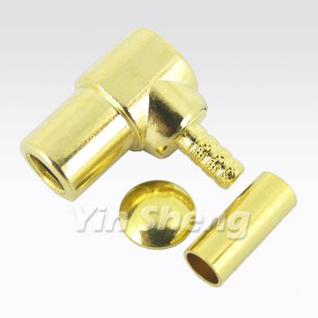 SMB Plug Crimp Right Angle for RG174U, RG316U, RG179U Cable, 50ohm