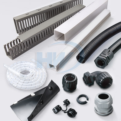 Wiring ducts,conduits and fittings,cable glands bushings,spiral wrapping bands