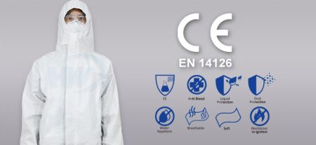 Disposable Protective Coverall with Hood, Size- L, Material- PE Film laminated with PP Nonwoven - Disposable Protective Coverall with Hood