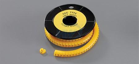 """EC型配線標誌,軟質PVC, 0.75 ~ 1.25sq. mm(18 ~ 16AWG),寬度(W)0.14""""(3.5mm) - EC型配線標誌"""