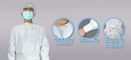 Isolation Gown, One size, Material- PE Film laminated with PP Nonwoven - Isolation Gown