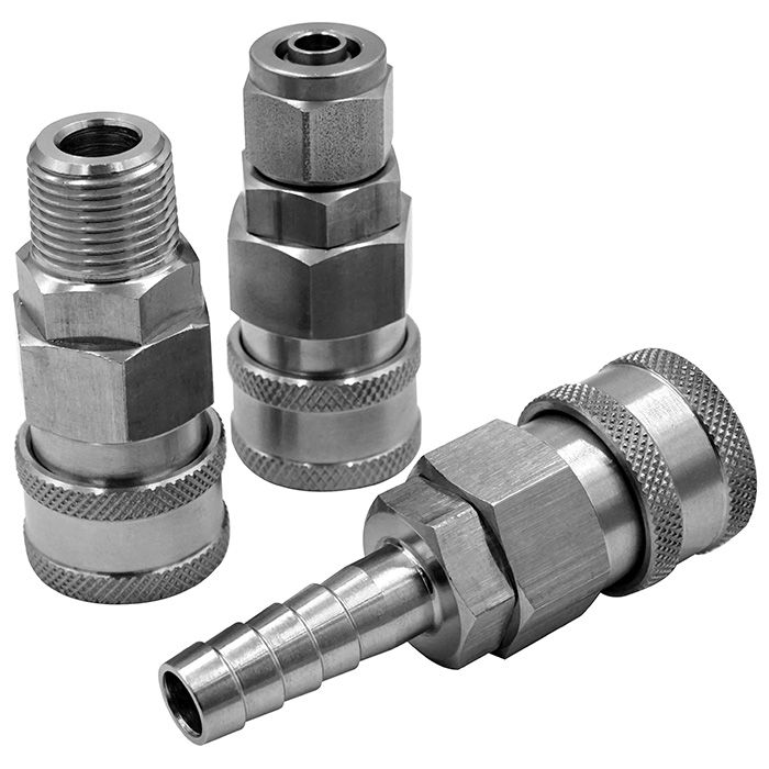One-way shutoff quick couplings in stainless steel and nylon66 (C type).
