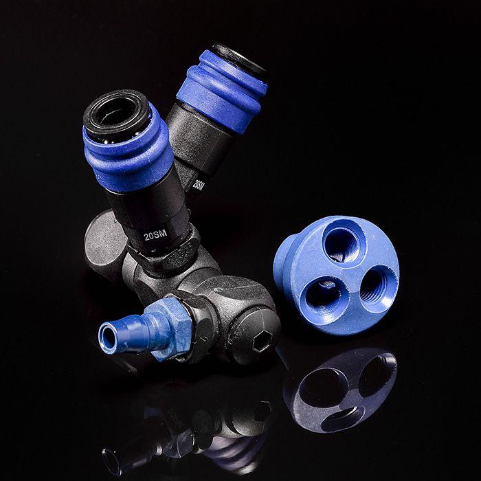 Verteiler rund / Drehgelenk (Nylon66 + Glasfaser) für Einweg-Schnellkupplungen.