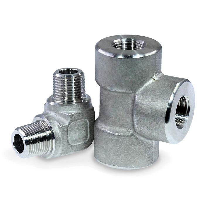 High pressure stainless-steel street elbow fittings / adapters.