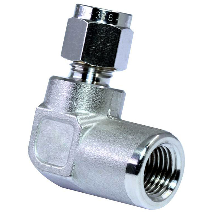 316 stainless steel double ferrules tube fittings female elbow.