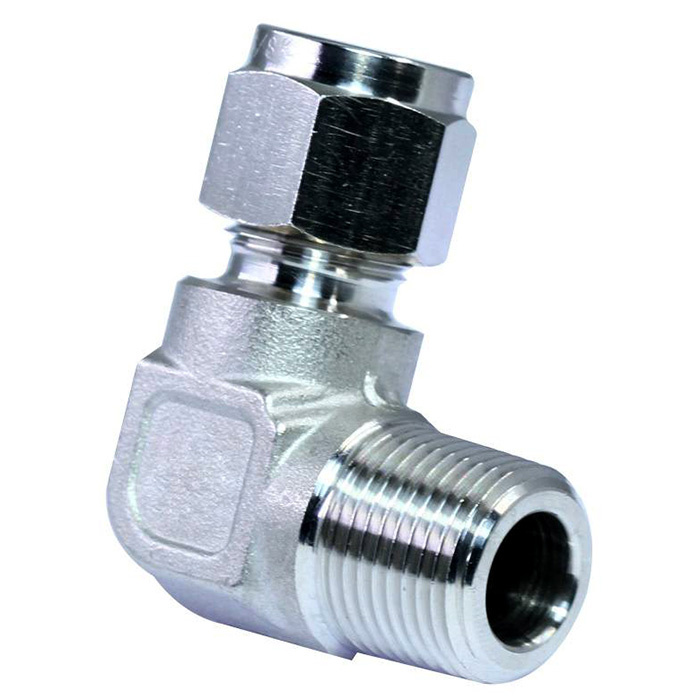 316 stainless steel double ferrules tube fittings male elbow.