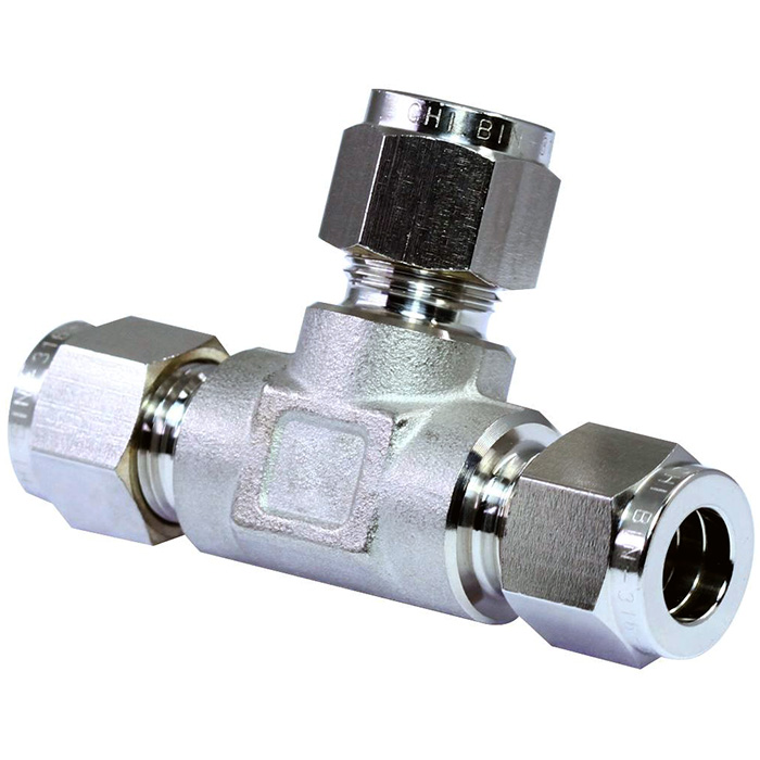 316 stainless steel double ferrules tube fittings union tee.