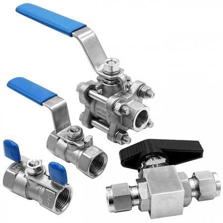 Ball Valves - Valve is made of bar stock; high density and high-pressure resistance.