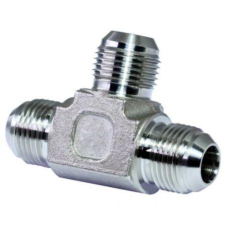 JIC 37° Flare Hydraulic Fittings Union Tee - Stainless JIC 37° Flare Hydraulic Fittings Union Tee.