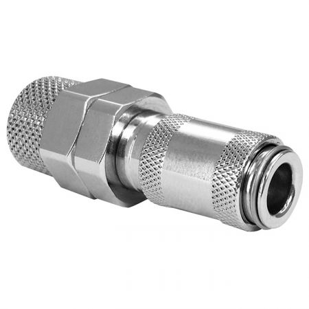 Mini One Touch Quick Couplings PU Socket - Stainless steel automatic locking quick coupling, one-hand operating quick coupling for pneumatic tools.