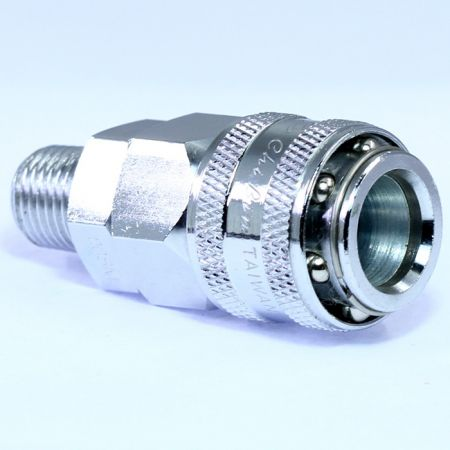 One Touch Quick Couplings Male Socket (Steel) - Also known as one-hand operation quick coupling, one-hand operation quick coupler, one-hand quick release coupling.