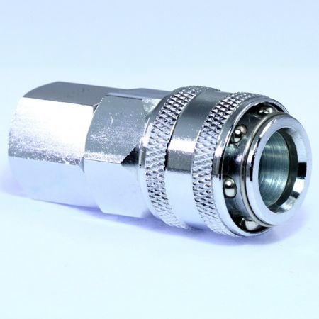One Touch Quick Couplings Female Socket (Steel) - Also known as one-hand operation quick coupling, one-hand operation quick coupler, one-hand quick release coupling.