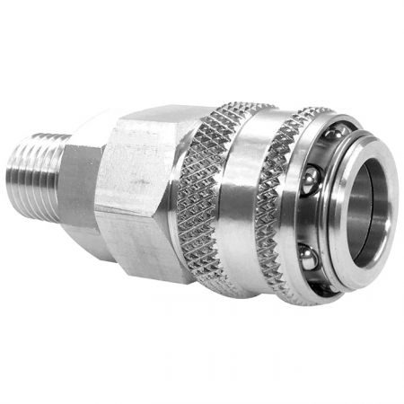 One Touch Quick Coupling Male Socket (SUS) - Also known as one-hand operation quick coupling, one-hand operation quick coupler, one-hand quick release coupling.
