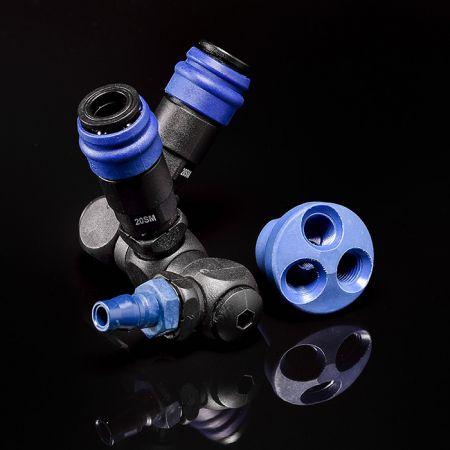 Peripherieprodukte - Verteiler rund / Drehgelenk (Nylon66 + Glasfaser) für Einweg-Schnellkupplungen.